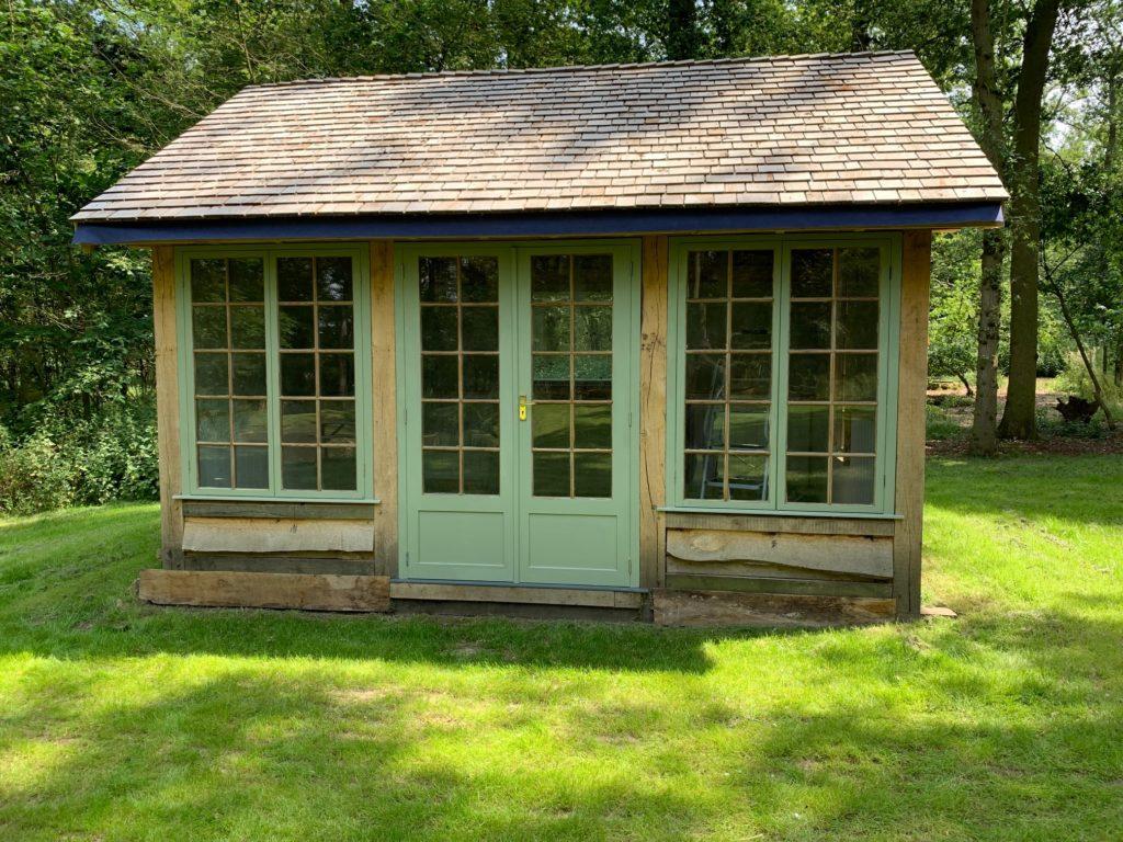 oak framed woodland cabin